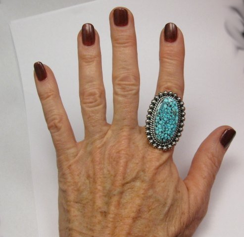 Image 2 of A++ Native American Navajo Natural Kingman Web Turquoise Ring Sz7-1/2