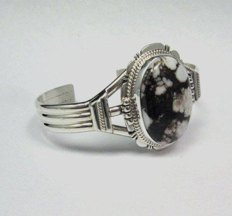 Image 2 of Navajo Native American Wild Horse Sterling Silver Bracelet, John Nelson