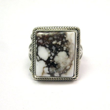 Image 4 of Navajo Native American Wild Horse Sterling Silver Ring sz11, Aaron Toadlena