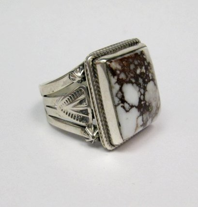 Image 1 of Navajo Native American Wild Horse Sterling Silver Ring sz11, Aaron Toadlena