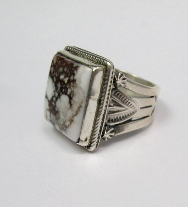 Image 2 of Navajo Native American Wild Horse Sterling Silver Ring sz11, Aaron Toadlena