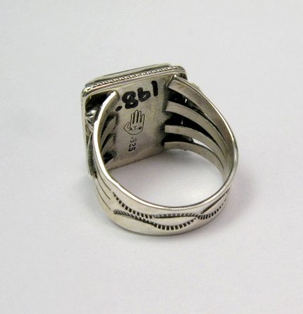 Image 3 of Navajo Native American Wild Horse Sterling Silver Ring sz11, Aaron Toadlena