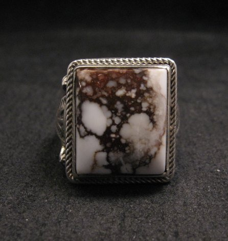 Image 0 of Navajo Native American Wild Horse Sterling Silver Ring sz11, Aaron Toadlena