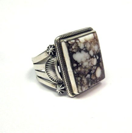 Image 2 of Navajo Native American Wild Horse Sterling Silver Ring sz12-3/4, Aaron Toadlena