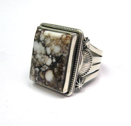 Image 3 of Navajo Native American Wild Horse Sterling Silver Ring sz12-3/4, Aaron Toadlena
