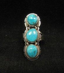 Native American Navajo 3-stone Turquoise Silver Ring, Sampson Jake, sz 6-3/4