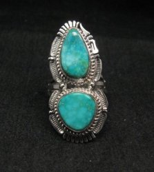 Native American Navajo Kingman Turquoise Silver Ring Bennie Ration sz8
