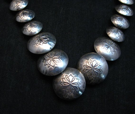Image 2 of Vintage Navajo Native American Hollow Silver Disk Bead & Turquoise Necklace
