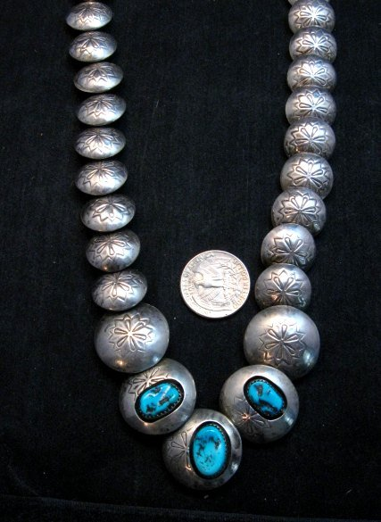 Image 3 of Vintage Navajo Native American Hollow Silver Disk Bead & Turquoise Necklace