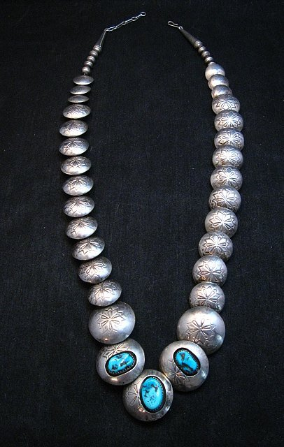 Image 7 of Vintage Navajo Native American Hollow Silver Disk Bead & Turquoise Necklace