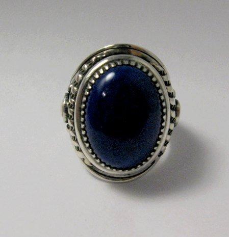 Image 1 of Native American Navajo Lapis Lazuli Sterling Ring Sz10-3/4 by Derrick Gordon