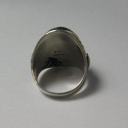 Image 3 of Native American Navajo Lapis Lazuli Sterling Ring Sz10-3/4 by Derrick Gordon