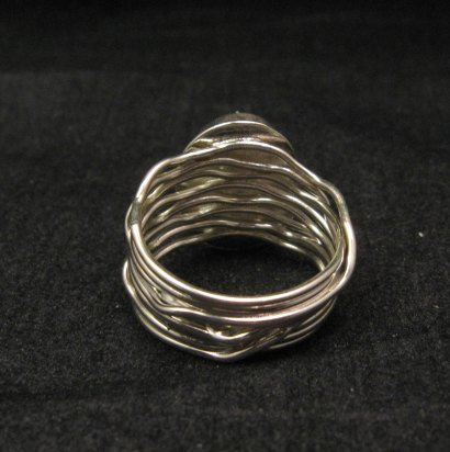 Image 2 of Navajo Native American Charoite Sterling Silver Wire Weave Ring sz7