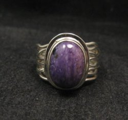 Navajo Native American Charoite Sterling Silver Wire Weave Ring sz7