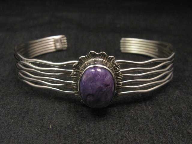 Image 1 of Navajo Native American Charoite Sterling Silver Wire Weave Bracelet