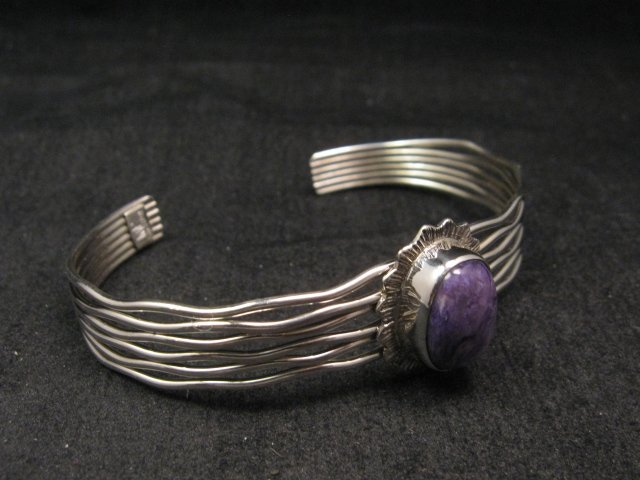 Image 2 of Navajo Native American Charoite Sterling Silver Wire Weave Bracelet