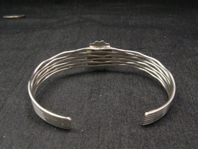 Image 3 of Navajo Native American Charoite Sterling Silver Wire Weave Bracelet