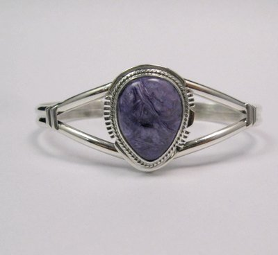 Image 4 of Larson Lee ~ Navajo Native American ~ Charoite Sterling Silver Bracelet