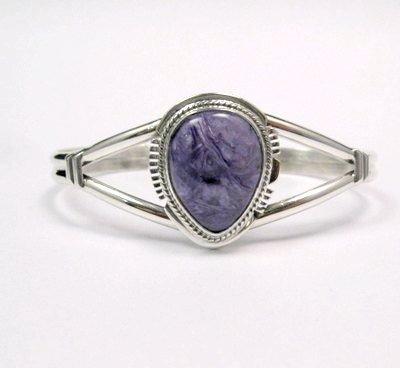 Image 0 of Larson Lee ~ Navajo Native American ~ Charoite Sterling Silver Bracelet