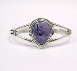 Navajo Native American Charoite Sterling Silver Ring sz7, Freddy Charley
