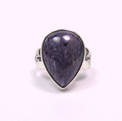 Image 0 of Navajo Native American Charoite Sterling Silver Ring sz7, Freddy Charley