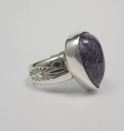 Image 1 of Navajo Native American Charoite Sterling Silver Ring sz7, Freddy Charley