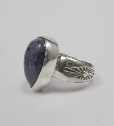 Image 2 of Navajo Native American Charoite Sterling Silver Ring sz7, Freddy Charley