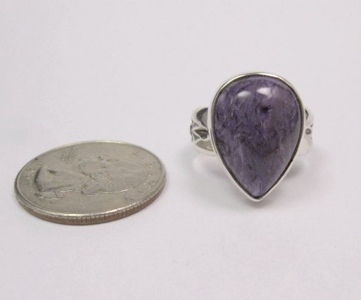 Image 3 of Navajo Native American Charoite Sterling Silver Ring sz7, Freddy Charley