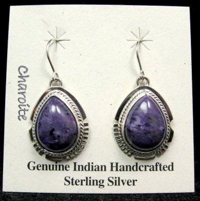 Image 0 of Native American Navajo Charoite Silver Dangle Earrings, Larson Lee