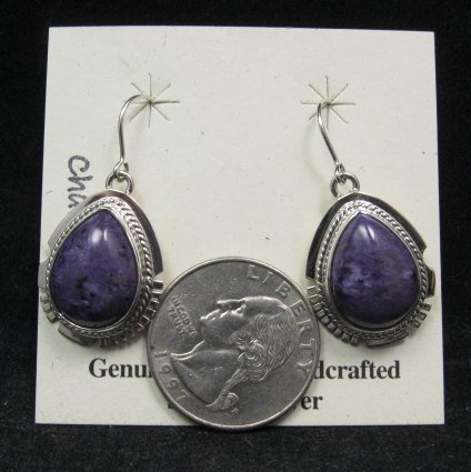 Image 1 of Native American Navajo Charoite Silver Dangle Earrings, Larson Lee