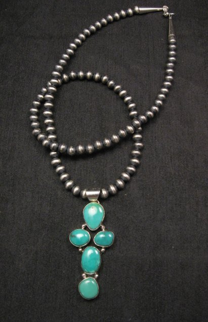 Image 0 of Native American Candelaria Turquoise Cross Pendant & Navajo Silver Bead Necklace