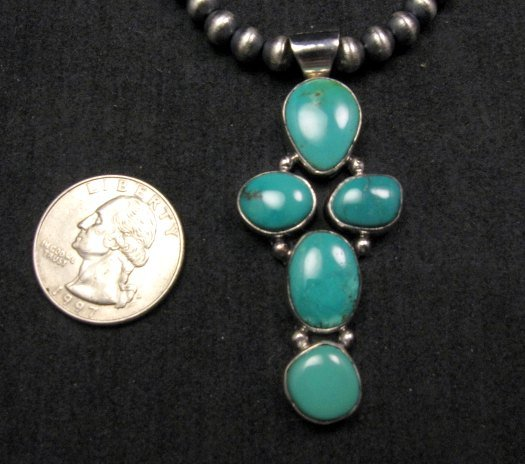 Image 2 of Native American Candelaria Turquoise Cross Pendant & Navajo Silver Bead Necklace