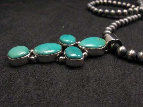 Image 3 of Native American Candelaria Turquoise Cross Pendant & Navajo Silver Bead Necklace