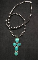 Native American Candelaria Turquoise Cross Pendant & Navajo Silver Bead Necklace