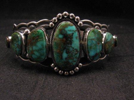 Image 5 of Navajo Native American Turquoise Silver Bracelet ~ Aaron Toadlena