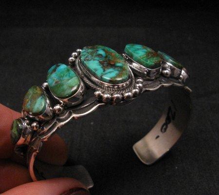 Image 3 of Navajo Native American Turquoise Silver Bracelet ~ Aaron Toadlena