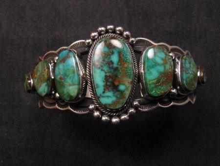 Image 0 of Navajo Native American Turquoise Silver Bracelet ~ Aaron Toadlena