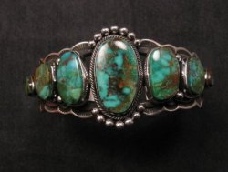 Navajo Native American Turquoise Silver Bracelet ~ Aaron Toadlena
