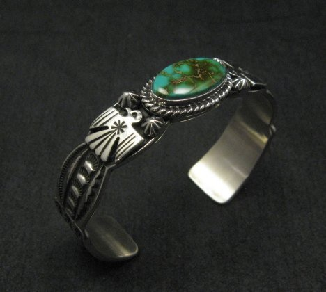Image 1 of Andy Cadman Navajo Pawn Style Royston Turquoise Silver Thunderbird Bracelet