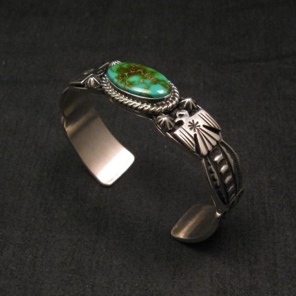 Image 2 of Andy Cadman Navajo Pawn Style Royston Turquoise Silver Thunderbird Bracelet