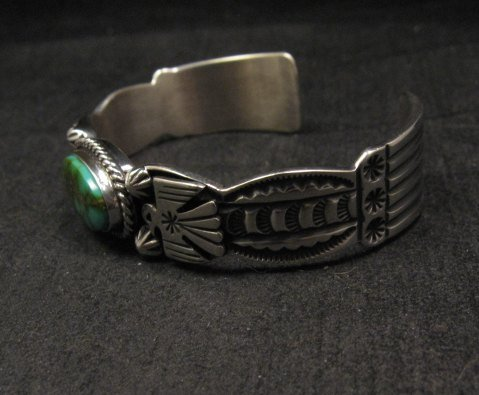 Image 3 of Andy Cadman Navajo Pawn Style Royston Turquoise Silver Thunderbird Bracelet