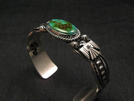 Image 5 of Andy Cadman Navajo Pawn Style Royston Turquoise Silver Thunderbird Bracelet