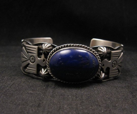 Image 1 of Andy Cadman Navajo Native American Lapis Silver Thunderbird Bracelet