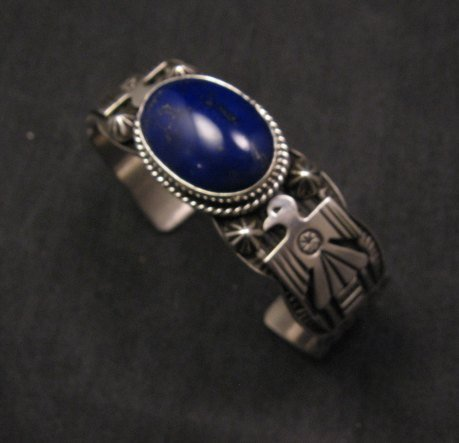 Image 2 of Andy Cadman Navajo Native American Lapis Silver Thunderbird Bracelet
