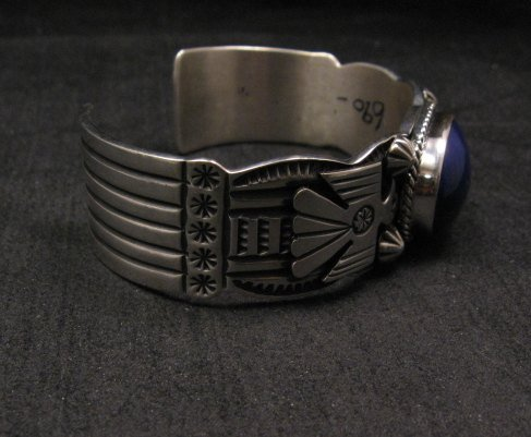 Image 3 of Andy Cadman Navajo Native American Lapis Silver Thunderbird Bracelet