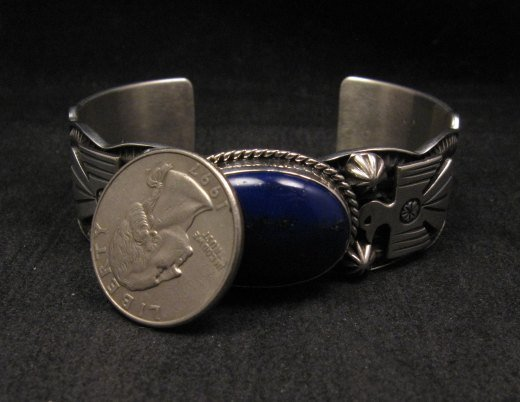 Image 6 of Andy Cadman Navajo Native American Lapis Silver Thunderbird Bracelet