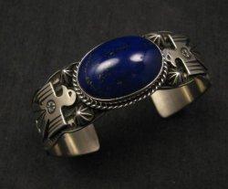 Andy Cadman Navajo Native American Lapis Silver Thunderbird Bracelet