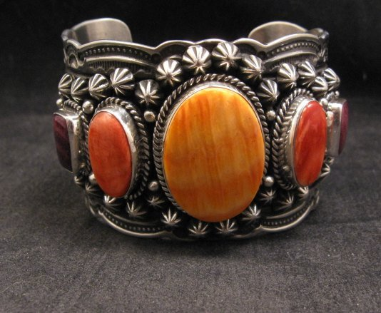Image 0 of Darryl Becenti Navajo Native American Spiny Oyster Sterling Silver Bracelet
