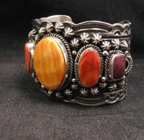 Image 3 of Darryl Becenti Navajo Native American Spiny Oyster Sterling Silver Bracelet