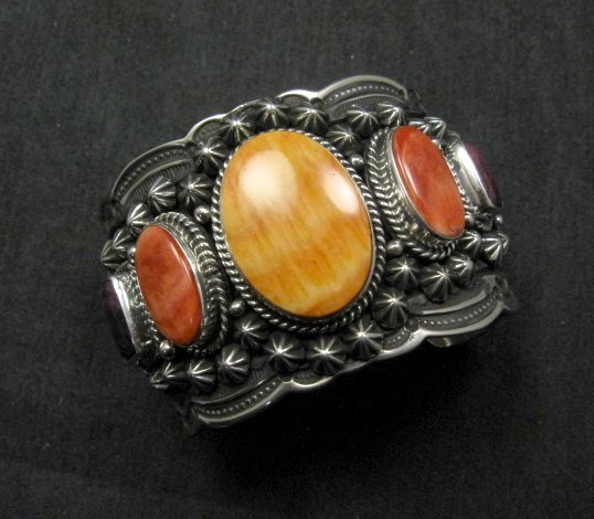 Image 4 of Darryl Becenti Navajo Native American Spiny Oyster Sterling Silver Bracelet